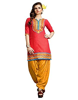 Aadhya Creartion Embroidred Orange Colour Cambric Cotton Regular and Party wear Punjabi Patiyala Patiala Salwar suits For Women Girls Dress Materials suit Kameez(A101602_Orange_Free Size )