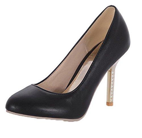 Voguezone009 Femmes Haut Talon Chatoyant Couleur Assortie À Bout Pointu Chaussures De Ballet Noir