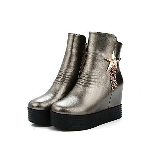 AllhqFashion Damen Reißverschluss Hoher Absatz Weiches Material Niedrig-Spitze Stiefel, Schwarz, 42