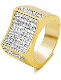 78a430728420 Anillo de boda para hombre 1 Unids Acero Inoxidable Sparkle Cubic Zirconia  Crystal Classic Hombres Gran Anillo de Oro…