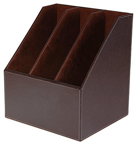 osco-faux-leather-triple-magazine-rack-brown
