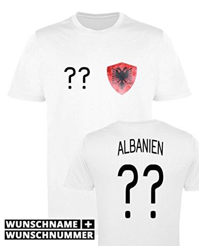 Comedy Shirts - Albanien Trikot - Wappen: Klein - Wunsch - Damen Trikot - Weiss/Schwarz Gr. M