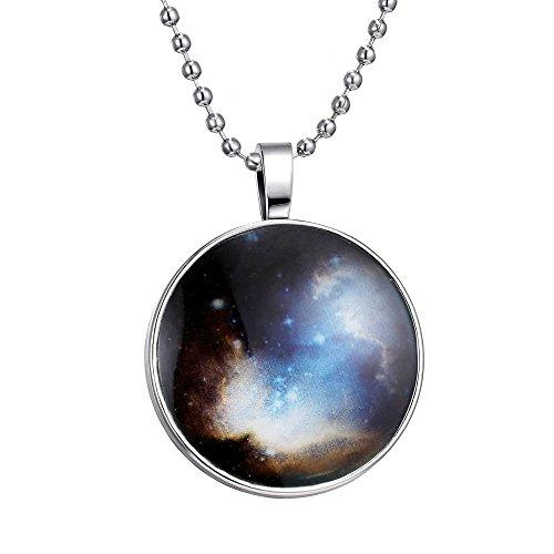Feilok Retro Sternenlicht Muster Leuchtend Rund Anhänger Halskette, Blaue Leuchtende Farbe