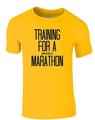 Brand88 - Training for a Marathon, Erwachsene Gedrucktes T-Shirt Gänseblümchen-Gelb/Schwarz