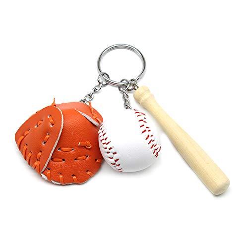 Ouken 1set Baseballhandschuh Schlüsselanhänger Mini-Neuheit-Sport Schlüsselanhänger Schulfest Reward-Partei-Bevorzugungen Geschenk-Beutel-Füller für Erwachsene und Kinder (orange)
