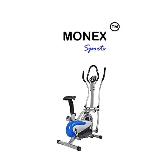 Monex Multi Orbitrek Exercise Elliptical Dual Action Hand Pulse Steel Elite Wheel Cycle with Seat and Stand (Silver and Blue)