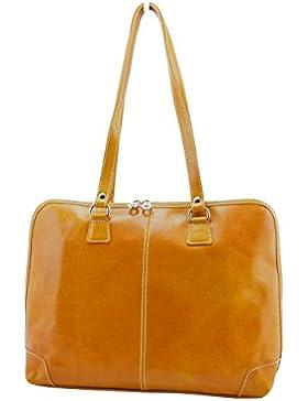 Echtes Leder Aktentasche Für Damen 1 Fach Farbe Gelb - Italienische Lederwaren - Aktentasche
