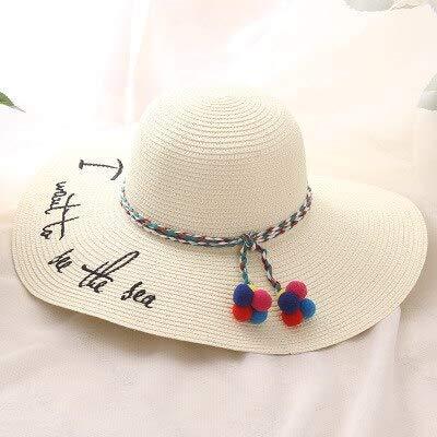ZXL Hut Erwachsene Frauen Mädchen Mode Stickerei Sonnenhut UV schützen großen Bogen Sommer Strand Strohhut -