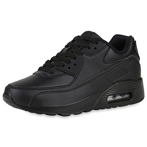 SCARPE VITA Damen Sportschuhe Profilsohle Laufschuhe Leder-Optik Sneaker 161044 Schwarz Black 39