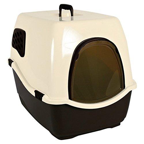 Trixie 40161 Katzentoilette Bill 1 F mit Haube/Tür/Griff, 40 × 42 × 50 cm, schwarz/creme