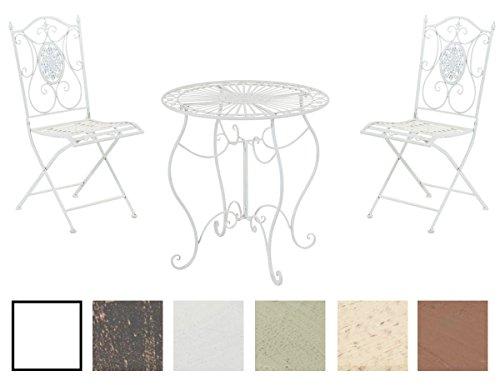 CLP Garten-Sitzgruppe ALDEANO, Metall (Eisen) lackiert, Design nostalgisch antik, Tisch rund Ø 70 cm + 2 x Klappstuhl Weiß