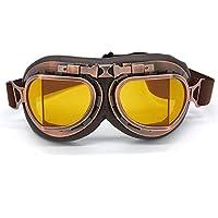 evomosa Motocross-Schutzbrille, Steampunk Vintage Aviator Pilot Stil Motorrad Cruiser Roller Goggle Biker Racer Cruiser Touring Half Helm Brille (Copper, Yellow)