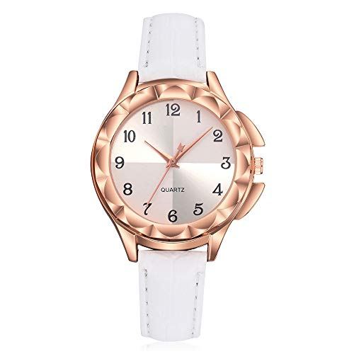 e Girls Ladies Leather Flash Dial Quartz Analog Wrist Watches Weiß1 ()