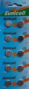 Eunicell Lot de 10 piles bouton alcalines AG10 Type G10 LR54 LR54SW LR1130 L1130E LR1130SW LL1131 L1131E SR1130W 389 390