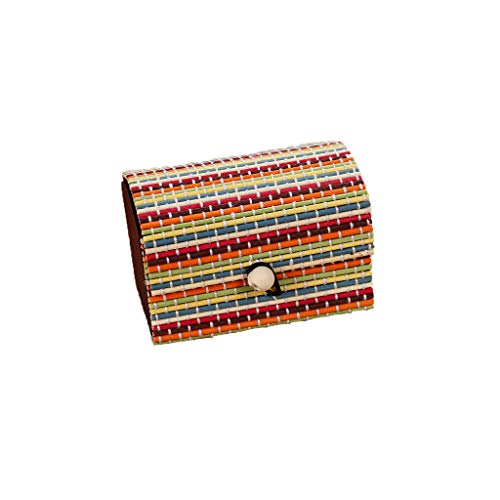 squarex Einfache und große Kapazität kreative Bambus Vorhang Holzschmuck Ring kleine Schmuck Aufbewahrungsbox Ohrringe Schmuckschatulle Organizer Storage Strap Craft Treasure Case (J)