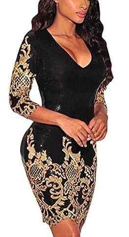 SunIfSnow - Robe spécial grossesse - Bustier - Uni - Manches 3/4 - Femme - or - S
