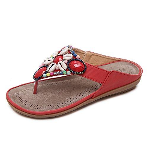 Minetom Femmes Bohème Perlé Strass DÉté Chaussons Mode Fleurs Antidérapant Flip Flops Tongs Clip Toe Plate Sandales Pantoufle Plage Chaussure Rouge