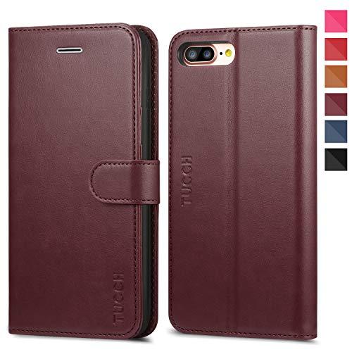 TUCCH Funda iPhone 8 Plus, Funda Cuero para iPhone 7 Plus con Garantía de por Vida,Concha Interna de TPU, Ranuras para Tarjetas, Funda Piel para iPhone 7 Plus/8 Plus(5.5'') - Rojo Vino