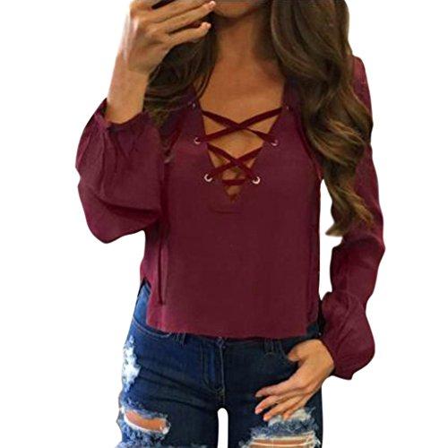 VEMOW Sommer Herbst Neue Mode Frauen Plus Größe Kurzarm Polka Dot Casual Täglichen Party Strand Workout Spitze Einfügen Plus Größe T-Shirt(Rot, EU-44/CN-L)