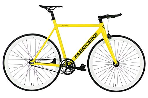 "FabricBike Light - Bicicletta Fixie, Fixed Gear, Single Speed, Telaio Forcella Alluminio, Ruote 28"", 3 Taglie, 4 Colori, 9,45 kg (Taglia M), Light Yellow & White, M-54cm"