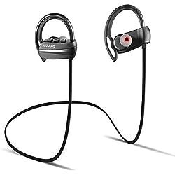 yobola Ultra-Longue Autonomie ÉcouteursBluetooth 4.1 sansFil Oreillette IntraAuriculaire Casque Sport Etanche Réduction du Bruit avec Microphone - 11 Heures de Lecture de Musique - Noir