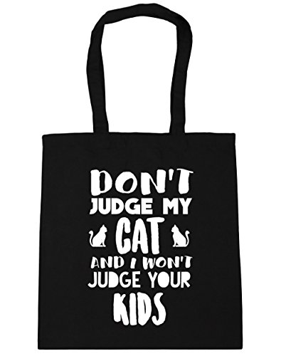 hippowarehouse Don 't Judge Meine Katze und ich Judge nicht Ihren Kids Tote Shopping Gym Beach Bag 42 cm 38 38, 10 Liter, schwarz, One Size (Cheetoh Katzen)