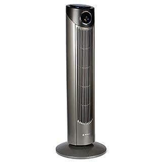Tecvance Turmventilator / Säulenventilator mit 3 Geschwindigkeitsstufen | 12 Stunden Timer | Ventilator mit LC Display mit Raumthermometer | zuschaltbare 80° Oszillationsfunktion | GS-zertifiziert