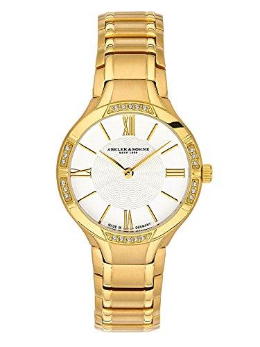 Abeler & Söhne fabricado en Alemania–Reloj de pulsera para mujer con correa de acero inoxidable, cristal de zafiro y Circonia as3176