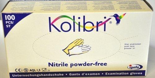 100 Stück Untersuchungshandschuhe, Kolibri Nitril puderfrei, Grösse L, Farbe blau, Handschuhe