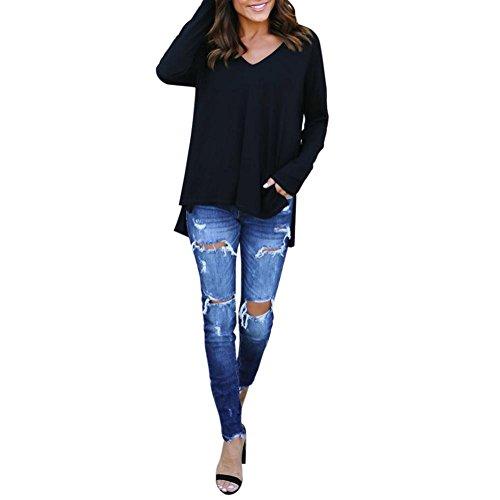 Manadlian [New Arrival Design] Mode Frühling Herbst Winter Damen Langarm V-Ausschnitt T-Shirt Damen Lose Beiläufig Tops Bluse in 3 Farben Lange Ärmel Bluse (Schwarz, S) -