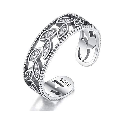 Mayanyan 925 Sterling Silber Ring Mode graviert Zirkon verstellbaren Ring Damen Verlobungsring Schmuck
