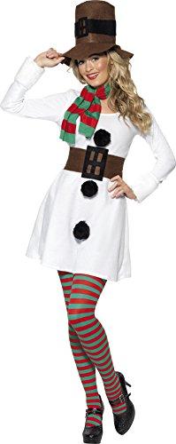 Smiffys, Damen Miss Snowman Kostüm, Kleid, Hut, Schal und Gürtel, Größe: L, 28016 (Gestreiften Grün Schal)
