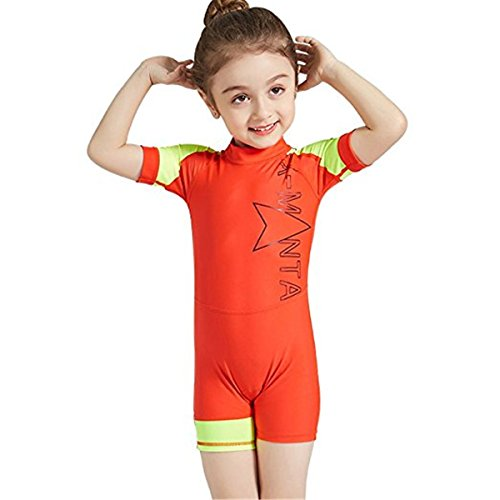 FAIRYRAIN Baby Kleinkind Jungen Mädchen ein Stück Kurzarm Badeanzug UPF 50 Badeanzug Tauchanzug Wetsuit für Wassersports XL