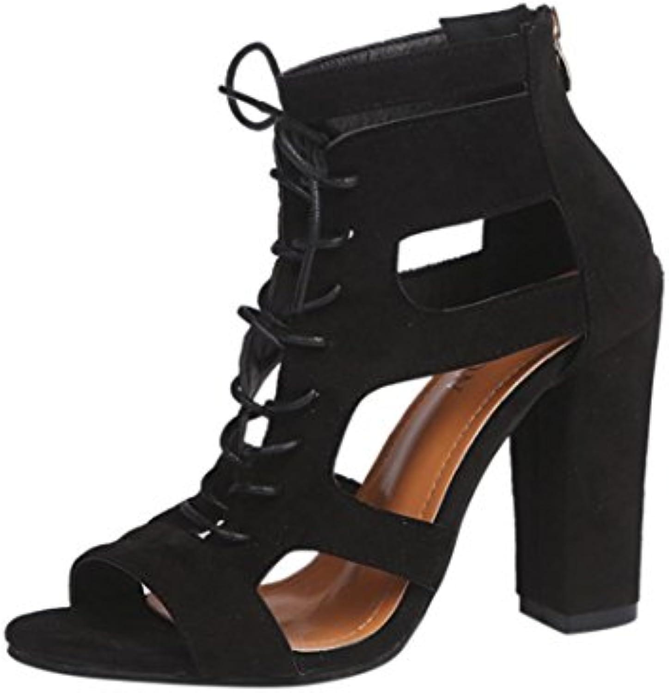 LANDFOX Damen Sandalen Mode Frauen Damen Sandalen Knöchel High Heels Block Party Offene Spitze Elegante Sommerö