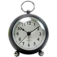 ANSTRK Round Alarm Clocks Table Clock Ultra-quiet Metal Small Alarm Clock with Night Light,Desk Cupboard Bedside Travel Alarm Clock Simple Operation (Color : Black, Size : 10.3x6.5x15.5cm)