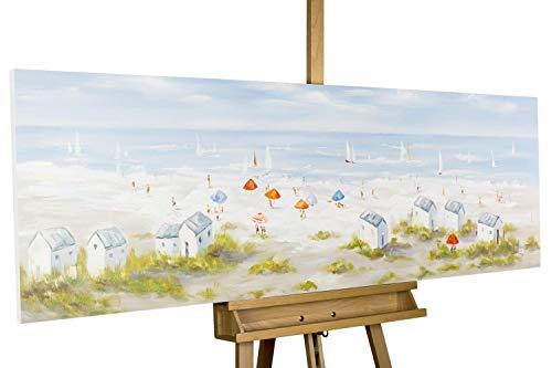 KunstLoft® Gemälde \'Brise der Nordseeluft\' 150x50cm | Leinwandbild handgemalt | Landschaft Strand Meer Strandkorb Nordsee Ostsee | Wandbild-Unikat signiert | Acrylgemälde Leinwand | Bild Keilrahmen