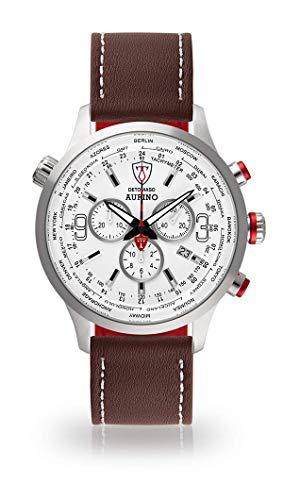 DETOMASO AURINO Herren-Armbanduhr Chronograph Analog Quarz braunes Lederarmband Weisses Zifferblatt DT1061-D-908