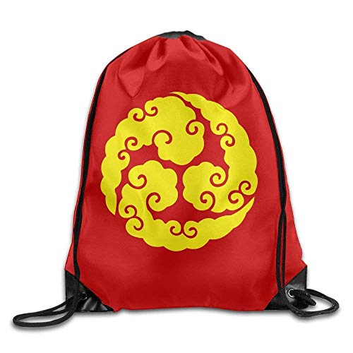 HLKPE Outdoor Sports Team Drawstring Bag Gym Bags Casual Daypacks - (Yellow Cloud Circle Red)