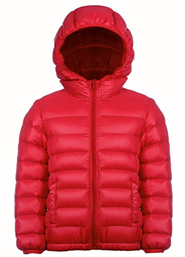 Mädchen Outdoor Daunenjacke Sweatjacke Daunen Jacke winter kälteschutz Rot 110