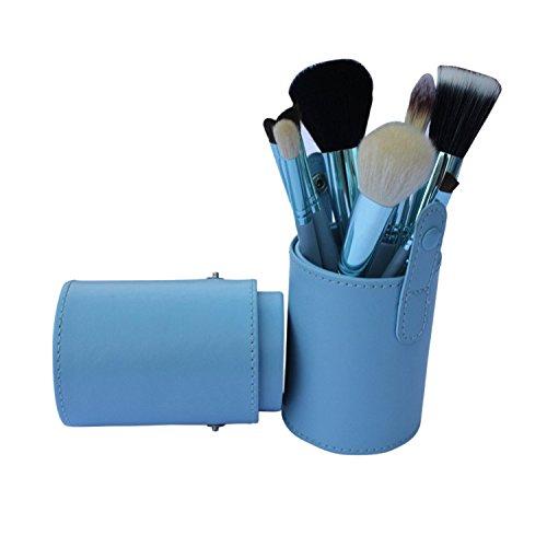 XUAN 12 PCs maquillage pinceau barillet installé pinceau poudre de fibre rose , blue