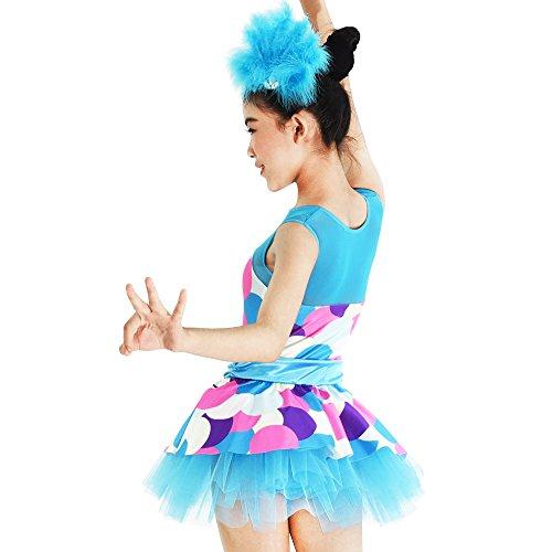 MiDee Mädchen Ist Illusion Tank Top Polka Dots Lyrischen Latin Dress Tanz - Kostüm (LA, Blau)