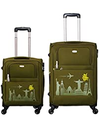 c329e918e877 Timus Salsa Military Green 55   65 cm 4 Wheel Trolley Suitcase for Travel  Set of 2 (Check-in…