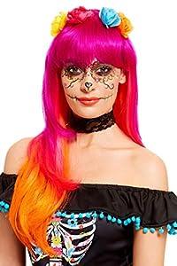 Smiffys 61119 - Peluca para mujer, color rosa y naranja