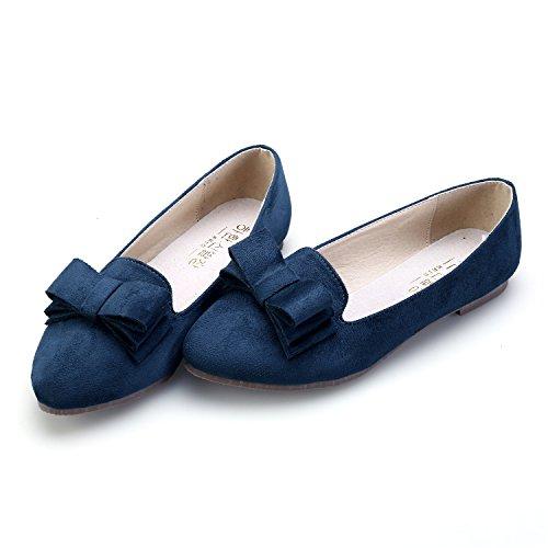 Smilun Damen Ballerina Flach Geschlossene Ballett Klassische Schleife Dunkel Blau