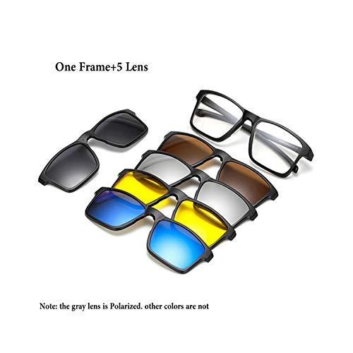 FGRYGF-eyewear2 Sport-Sonnenbrillen, Vintage Sonnenbrillen, 5 Lens Magnet Sunglasses Clip Mirrored Clip On Magnetic Sunglasses Clip On Glasses Männer Polarized Clip Custom Prescription Myopia 2258