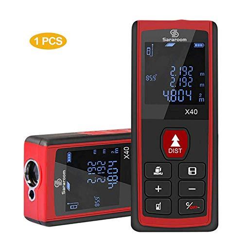 Sararoom Entfernungsmesser 40m, Distanzmessgerät Distanzmesser Messbereich 0,05~40m mit Messeinheit m/in/ft mit Hintergrundbeleuchtung, Anti-fallen