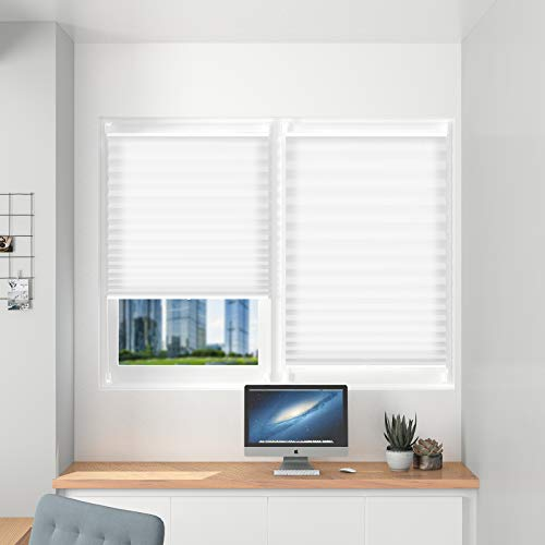 Plissee Klemmfix Plisseerollo Verdunkelung Faltrollo Zum Kleben Vorhange Sonnenschutzrollo 60 X 200 Cm Weiss Fur Fenster