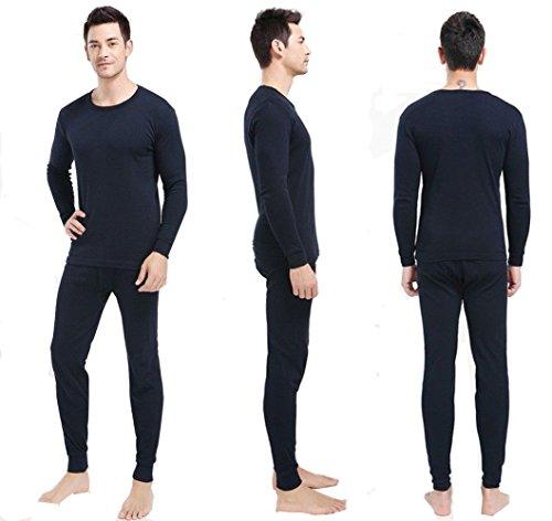 2 pc da uomo termici 100% puro cotone, 240 g/mq, maniche lunghe e calzamaglia, 1190 & 1290) blu navy