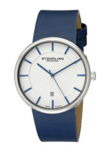 Stuhrling Original 244.3315C2 - Montre Quartz - Affichage Analogique Bracelet Cuir Bleu et Cadran Blanc - Hommes