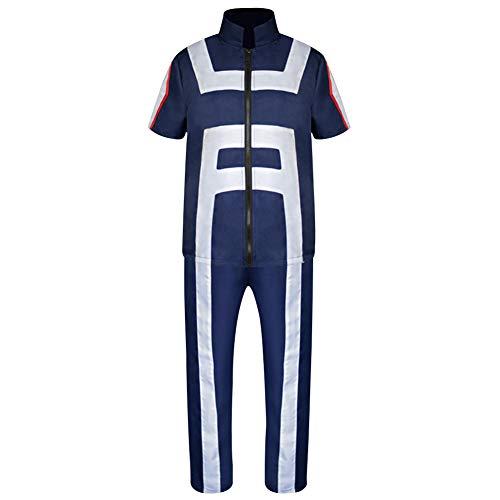 (Yovvin My Hero Academia Cosplay Kostüm, Izuku Midoriya Katsuki Bakugou Todoroki Shoto Training Suit Cosplay T-Shirts & Hoses Set( L Blau))